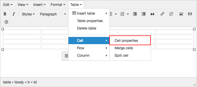 This Will Bring Up The Cell Properties Window Here You Can Set Different For Table And Data Within It