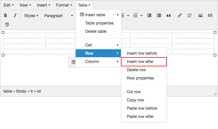 Working with Tables - TinyMCE Rich Text Editor | Branch CMS