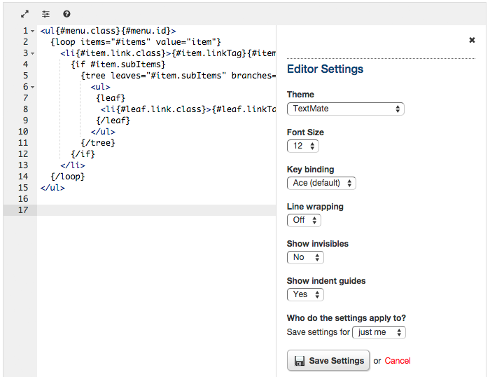 New Code Editor - Ace | Blog | BranchCMS