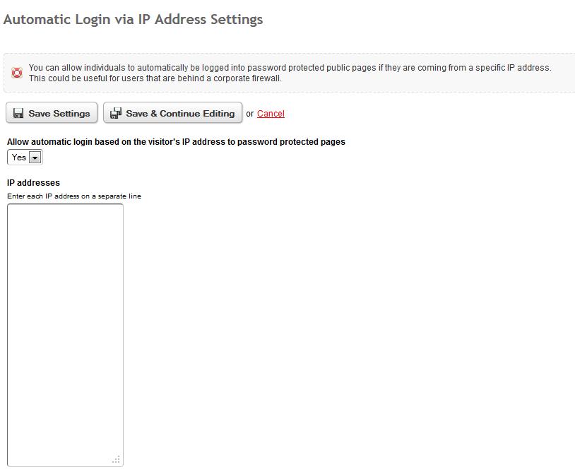 Automatic Anonymous Login via IP Address | Branch CMS