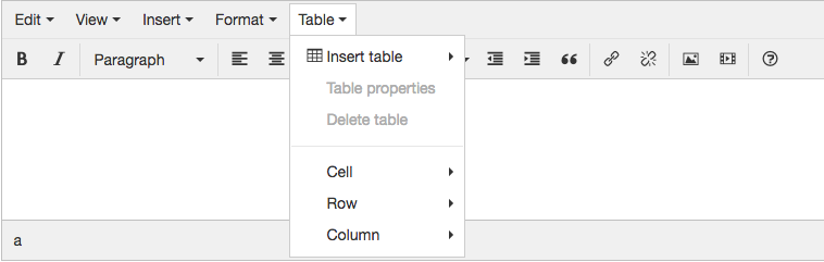Working with Tables - TinyMCE Rich Text Editor   Branch CMS