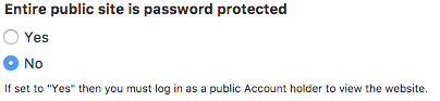 Password protection settings