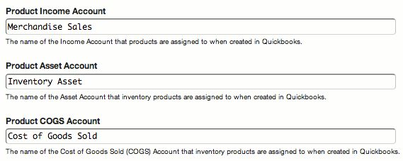 Quickbooks Product Account Settings